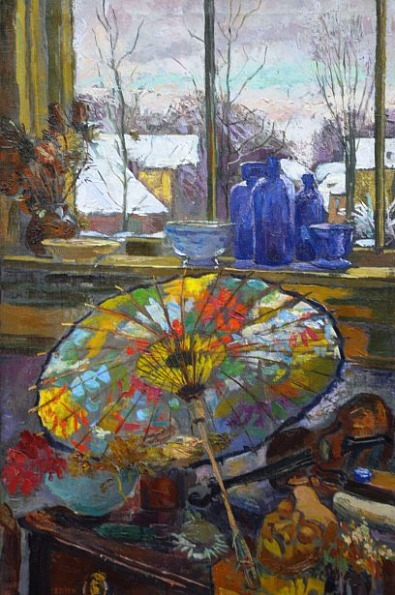 stilllifequickheart:  Elizabeth Pijpers Still Life with Parasol by the Window 20th century