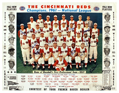 1961 Cincinnati Reds Team Champions, 1961 - National League Lots of interesting details in this team photo, especially the listing of the new players for '62 (including Don Zimmer!) and the mention of the Cincinnati Reds Hall of Fame which was started in 1958.