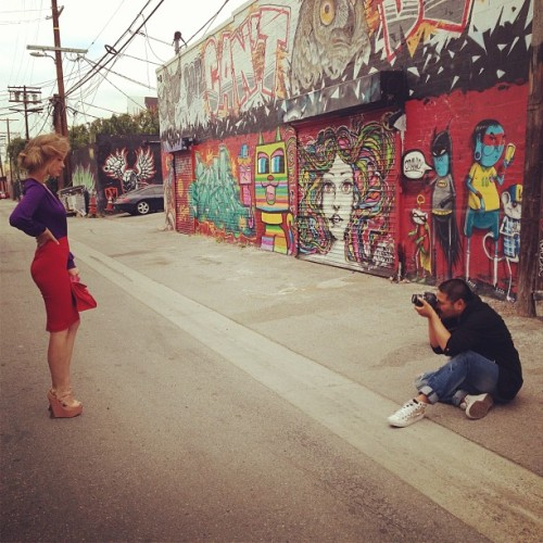 Shhhh! Check out this #bts shot of @irinaestyunina being #photographed by @ianmaxion for #frockla #ss14