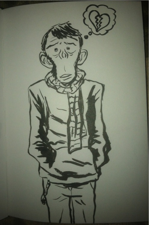 Broken hearted hipster monkey boy