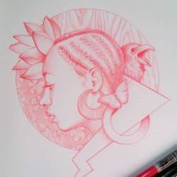 Still working on this #sketch. #hairstyles #art #drawing #red #follow #naturalhair #dubelyoo #nature #moleskine #pencil #picoftheday #dubelyoo