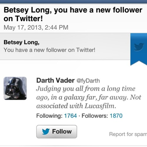 Ok. I have another Darth Vader #following me…what is going on!? I'm #pretty sure this has something to do with me #tweeting about my #chewbacca like #hairy #legs…#darkside #starwars #nerd #cool #humor #fantasy #vintage #film #outerspace #classic #legend #lucky #surprise #scifi