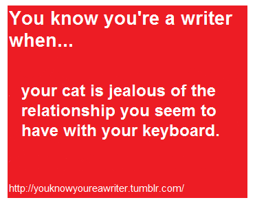 """You know you're a writer when… your cat is jealous of the relationship you seem to have with your keyboard."""