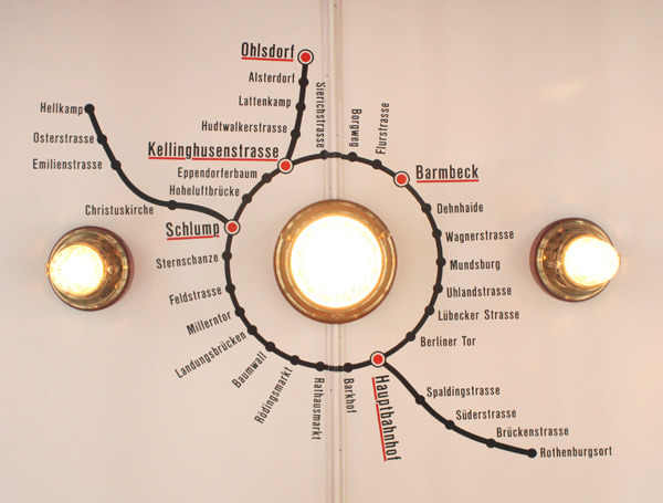 Submission: Hamburger Hochbahn Ceiling Map, 1915 Submitted by themallefitz, who says:  This is a transit map of the Hamburger Hochbahn (subway / elevated railway) from 1915. it was painted on the ceiling of the wagons. —— Transit Maps says: This. Is. So. Beautiful.