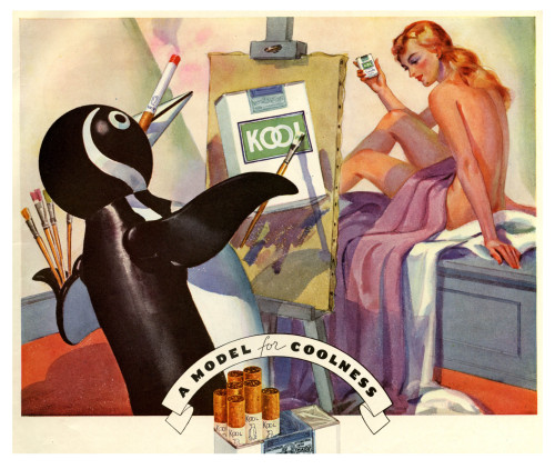 what-floats-my-boat:  Kool cigarettes ad1936via Captain Geoffrey Spaulding   damn penguin…