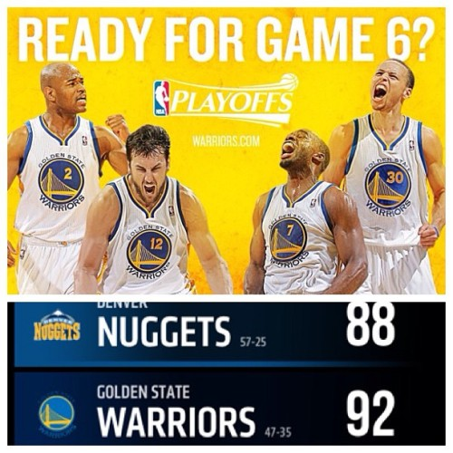 Scariest game ever but they pulled through! Round 2 here we come! #DubNation #GSW #nba #nbaplayoffs #WarriorGirlUntilIDie #goldwar 😘😍🏀