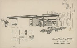 tmaction:  The Lowline from a Pettit & Sevitt brochure 1964. So apparently there's some pretty rad inexpensive suburban Australian architecture, well there used to be. This guy Charles Pickett has released a book entitled Designer Suburbs. I'd love a Lowline built at the top of some hill in the bush with a deck to end all decks. I'd get Pierre and Clarky to build it at %150 scale so as to not get cramped and rename the bastard the Highline. Then all I'd have to do is decide how often to hold Tmacfest, quarterly is pretty often for a wildy radical festival isn't it?