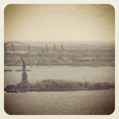 Lady Liberty from up on high.