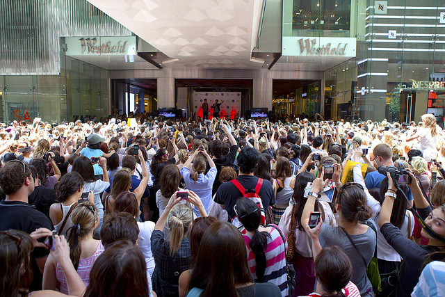 The crowd when Cory had a meet-and-greet at Sydney's Westfield Mall last December.