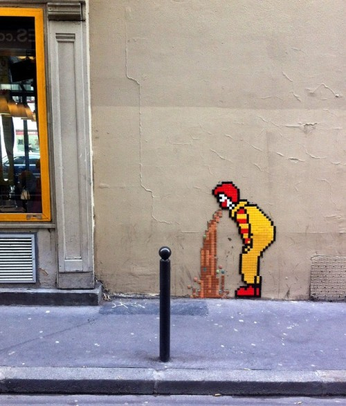 damonabnormal:  streetartglobal:  A McClassic piece of street art, possibly not by Invader!  OMFG yes this rules!
