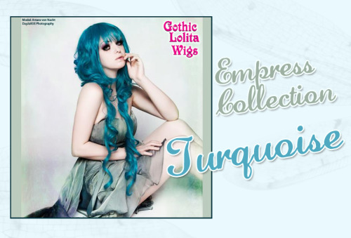 ♥ Empress Collection - Turquoise ♥ Amara wears our Empress Collection's Turquoise wig in this beautiful photo, showcasing the true beauty of this collection! It comes pre-styled with two long, loose curls that hang to the sides, and multiple layers of shorter curls that form the main piece of the wig, making this a truly stunning style!Own it Today!: www.GothicLolitaWigs.com/Empress-Collection/Model: Amara von Nacht | DayJaVUE Photography