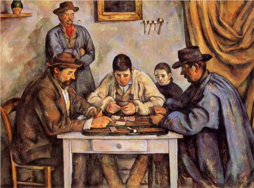 collectivehistory:  The Card Players by Paul Cezanne ca. 1892 As a later work, The Card Players is more indicative of Cezanne's earlier impressionism. It does have the thick lines and bright colors of the impressionist school, but also the fragmented quality that Cezanne used to separate the shapes and forms within his paintings. This painting was created in Cezanne's mature period, in Provence, where he stabilized his family residence and completed many of his later paintings. It was at this time that Cezanne employed the use of his wife, son, local peasants, children, and art dealers as his models and subjects. You can almost image Cezanne sitting across from these two players in a local tavern, as he was inspired by them, returning to his estate to paint them.