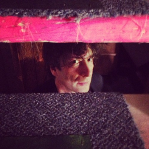 At Bryant Lake Bowl, @neilhimself lurks beneath the stairs.  (at Bryant-Lake Bowl & Theater)