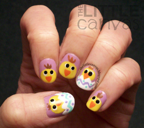 Easter Chick Nail Art by The Little Canvas A.!