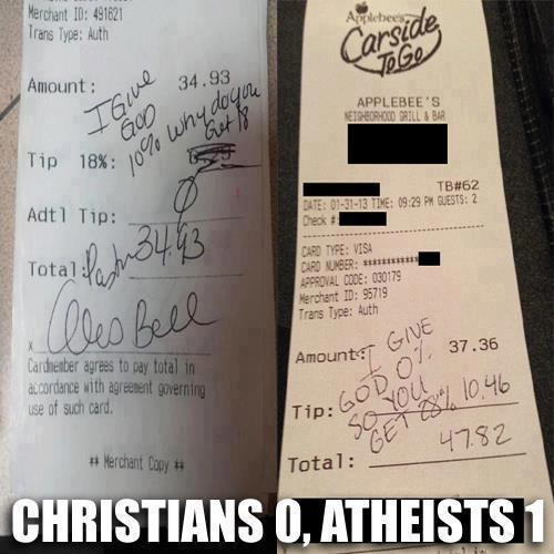 "hatefulatheist:  What's even more ridiculous is that the $10.46 is for ""Carside to go"", but still pretty awesome."