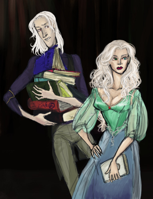 invocationofglamour:  young shiera and bloodraven hunting for arcane secrets in oldtown. lazy colours but i was starting to hate the sketch so it had to be finished :|