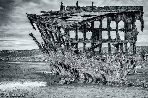 "lensblr-network:  ""When Peter Iredale Came Ashore"", Peter Iredale Shipwreck, Fort Stevens, Oregon 2013. © Dave Haworth. by davesphotoexploration.tumblr.com"