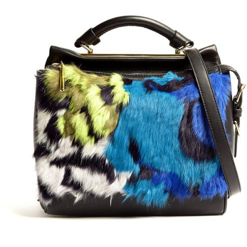 polyvore fashion bags handbags fur handbags satchel handbags blue satchel handbags zip top bags satchel style handbags