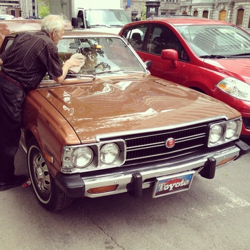 Cool car day in Montreal apparently. 1975 Toyota Corona and friendly owner.
