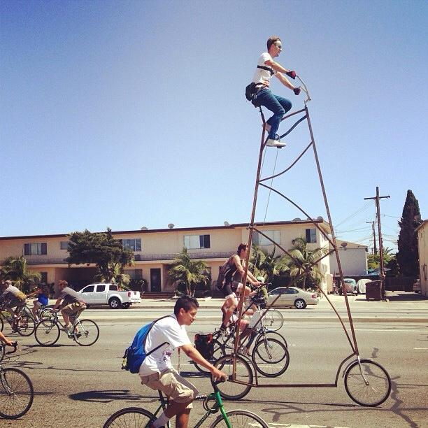 laughingsquid:  Stoopid Tall, A 14-Foot-Tall Bicycle  I wish this guy would stop forwarding me those ads from Canadian pill companies.
