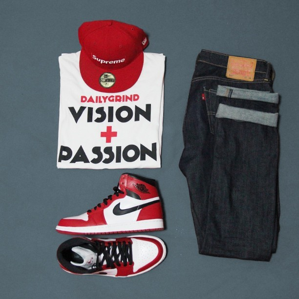 Fit of the day: Supreme, Daily Grind Clothing, Jordan 1 Chicago. #wiwt #ootd #kotd #supreme #dailygrind #jordan #outfitgrid