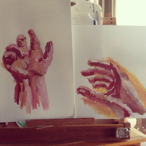 Have begun two hand paintings #art #artist #acrylic #artwork #paint #painting #sketch #drawing #hands #illustration