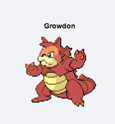 mightyenarc:  Growdon, the Continent Pokemon: Growdon has appeared in mythology as the creator of the land. It sleeps in magma underground and is said to make volcanoes erupt on awakening.  Said to have expanded the lands by evaporating water with raging heat. It battled titanically with Kyogre.