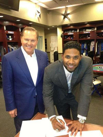 realsportsfan:  It's official. Elvis has resigned with the Rangers. Elvis will receive a $2 mil signing bonus and will earn $15 mil a year for the first 6 seasons (not including opt out). The last 2 seasons, he will earn $14 mil per year.