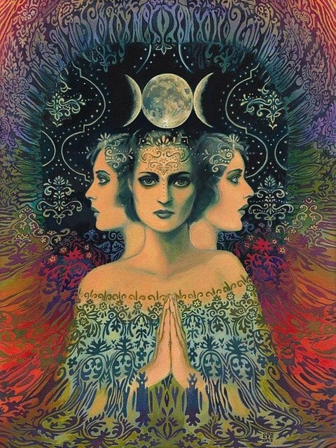 mother moon psychadelic trippy peace rainbow hippie