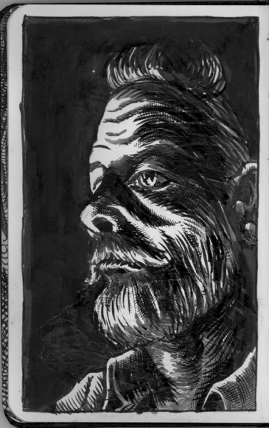 a drawing i did of philip k. dick in an old moleskine… my tumblr