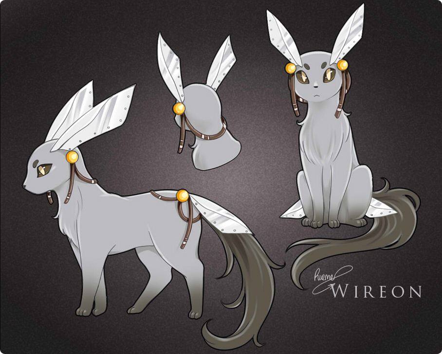 fantasticfakemon:  Eevee —> Wireon Steel Evolves from Eevee when leveled up while holding a Metal Coat. Source. Artist: Rueme