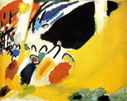 "Wassily Kandinsky.  Composition V 1911. According to Inventing Abstraction curator Leah Dickerman at MOMA in New York, after hearing Arnold Schönberg's Second String Quartet, artist Wassily Kandinsky painted Impression 3 (Concert) [pictured above] and invited the composer to exhibit his own painting's with Kandinsky's Blue Rider group.  According to Dickerman, Schönberg's Second String Quartet, brought Kandinsky into the realm of abstraction in his art.  Part of the exhibit is a revealing ""social graph"" of Kandinsky and his compadres of the time.  Be sure to click on each name as you browse the graphic as its interactive with pieces of art influences by the artist's peers.  It is noteworthy to view abstract art in the early 20th Century through this lens as it clearly delineates abstract art as a conglomeration of music, art, and poetry as opposed to an autonomous conception of one artist. In partnership with MOMA, WQXR of New York has put together a playlist illuminating the musical influences of music on this genre of abstract artists. And the best for last, give yourself a treat and listen to this fantastic interview with Leah Dickerman on the Modern Art Notes Podcast to enjoy this topic from start to finish.  To see what amazing combustive artistry comes forth from you, here is  Arnold Schönberg's String Quartet No. 2.  Michael Accorsi is an artist, painter working from his studio in Northern California. He writes about art on his Plotlines art blog on Tumblr. Connect with Michael on Facebook and Twitter as well.  Subscribe to his studio newsletter here."