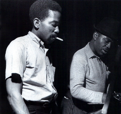 Sonny Clark and Ike Quebec during Clark's Leapin' and Lopin' session, Englewood Cliffs NJ, November 1961 (photo by Francis Wolff)