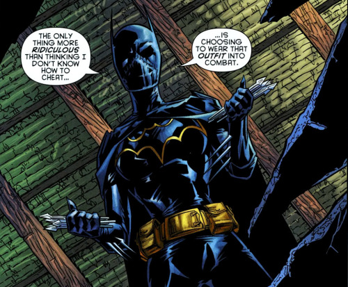1onewolff:  Comments on Huntress's costume. Black Bat= The best.  Cass was actually still Batgirl in this one-shot. And, if I may, I don't think this panel does Cassandra any favors. She was petty and judgmental towards Helena Bertinelli, and would purposely antagonize her because… why? This was never really explained. She was just written completely out of character. Cass and Helena didn't know each other very well, but Cassandra would never treat Helena like this. But that's just Battle for the Cowl for you.
