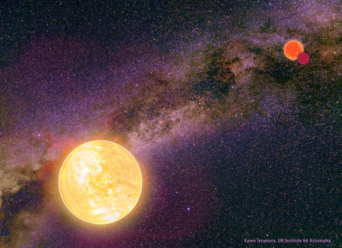 "heythereuniverse:  Double-Star Systems Can Be Dangerous for Exoplanets | Space.com Alien planets born in widely separated two-star systems face a grave danger of being booted into interstellar space, a new study suggests. Exoplanets circling a star with a far-flung stellar companion — worlds that are part of ""wide binary"" systems — are susceptible to violent and dramatic orbital disruptions, including outright ejection, the study found. Such effects are generally limited to sprawling planetary systems with at least one distantly orbiting world, while more compact systems are relatively immune. This finding, which observational evidence supports, should help astronomers better understand the structure and evolution of alien solar systems across the galaxy, researchers said. [Read more]"