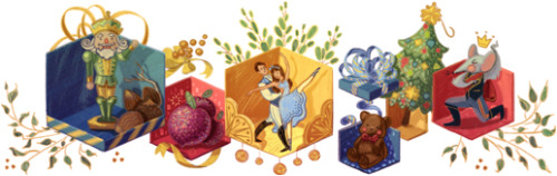 Love this Google Doodle celebrating the 120 anniversary of the première of The Nutcracker in St Petersburg. Thank you doodlers for remembering ballet & dance! (18 December, 2012 on https://www.google.co.uk/)
