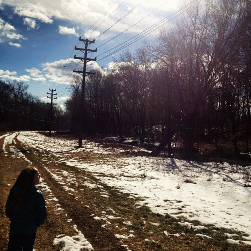 #sky #sun #pretty #snow #grass #trees #tiretracks #girl #telephonepole #telephonewires #clouds