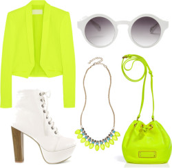 Can you say green? por amy-kate con lace heels ❤ liked on PolyvoreAntonio Berardi neon blazer / Lace heels, $74 / Marc by Marc Jacobs  / Monki , $13 / River Island Girls yellow neon statement necklace, $9.23