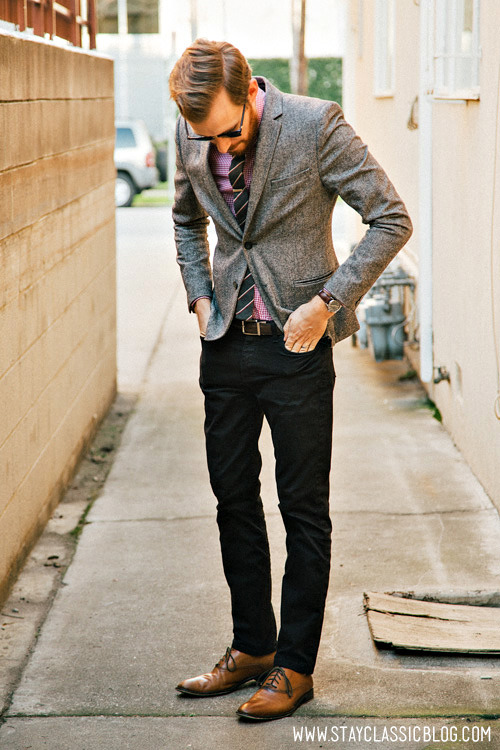 February 14, 2013. Blazer - H&M - $40 (with 20% off coupon) (similar)Shirt: Welsford Shirt - Frank & Oak - $45 (similar)Pants: American Apparel Slim Slack - $15 (Buffalo Exchange) (similar)Shoes: Banana Republic Hyde Oxford - $90 (40% off coupon)Tie: All Saints - $12 (outlet)Tie Bar: The Tie Bar - $15 (similar)Sunglasses - Ray Ban Clubmaster in Tortoise - $89Watch: Timex - Amazon - $31Socks: Forever 21 Men - $2.80