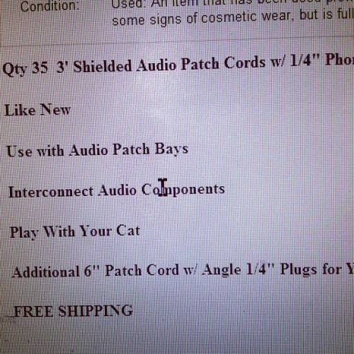 Looking at patch cables on eBay. This guy advertises that they double as cat toys. SOLD