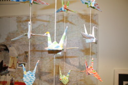 New paper crane mobile, this time with a bit of a stain glass window feel..