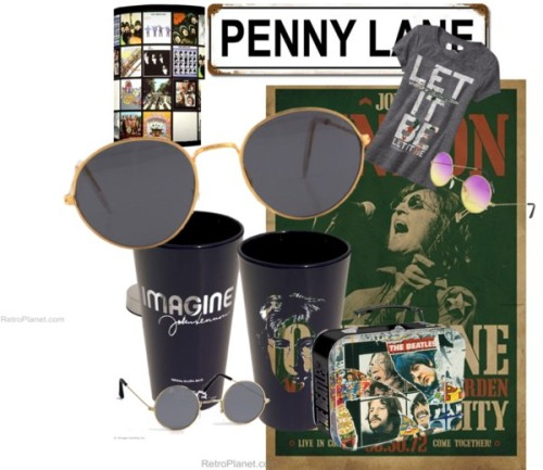 John Lennon | Beatles Fashion & Decor by retroplanet featuring round sunglassesOld Navy graphic t shirt / Hippie sunglasses / Sunglasses / Round sunglasses / Beatles Album Collection Lamp | Table Lamps | RetroPlanet.com / Penny Lane Tin Sign: Home & Business Decor with Music Metal Signs… / Beatles Album Art Box | Lunch Boxes | RetroPlanet.com / John Lennon Pint Glasses Barware Beatles Black Glass RetroPlanet.com / Lennon One to One Poster John Lennon Posters RetroPlanet.com