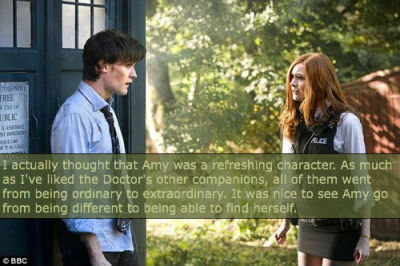 I actually thought that Amy was a refreshing character. As much as I've liked the Doctor's other companions, all of them went from being ordinary to extraordinary. It was nice to see Amy go from being different to being able to find herself.