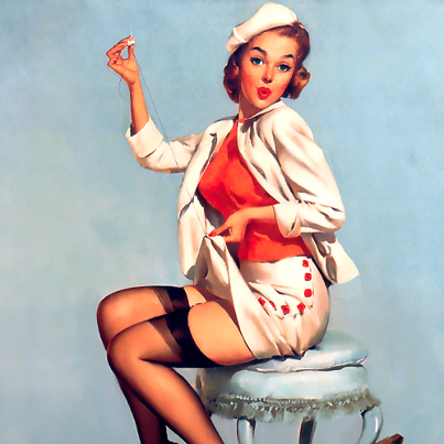 vintagechampagnefever:  Elvgren's pin up girl darns her skirt