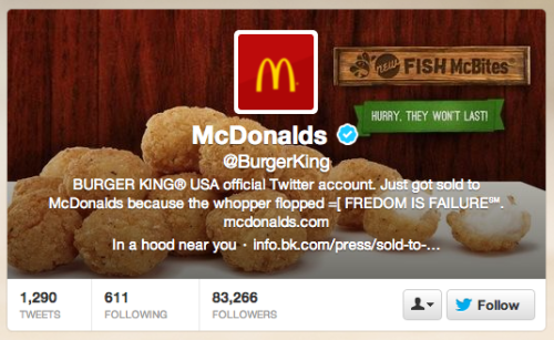We're hearing reports that the @BurgerKing twitter account got hacked, but we're not seeing any problems over this way. Are you? EDIT: The Wendys' social media person weighed in:  And to answer your question, the account has finally been suspended. Took long enough. EDIT: And McDonald's has responded, offering condolences to their competition.  No word on whether Long John Silver's will offer their input.