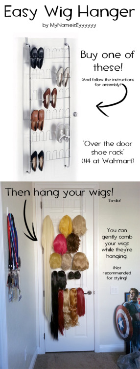 mynameiseyyyyyy:  How I hang my wigs! When you start building a giant collection of hair, you're gonna want an easy way to store it, so I came up with this. (If your wigs get dusty, use an air-can and spray the dust off.  Or, alternatively, you can use the bag the wig came with to slide over the top of the wig.)