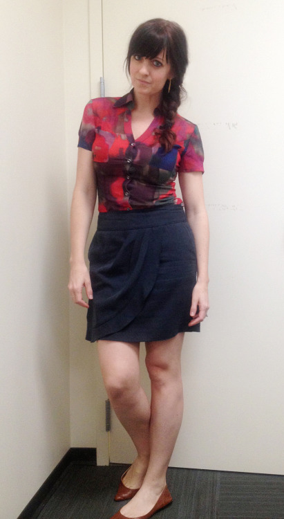 skirt- LOFT, thrifted under $7 top- Express, thrifted $3  Patrick picked this up for me, and I love it. It def has an Anthropologie feel to it.  flats- Target, a few years ago, under $20