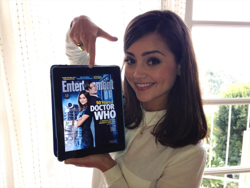 Jenna Louise Coleman checks out her first Entertainment Weekly cover for Doctor Who
