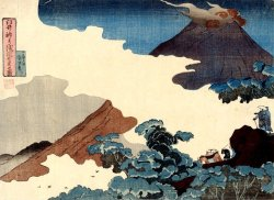 cavetocanvas:  Utagawa Kuniyoshi, View of Mount Asama from Usui Pass, c. 1833