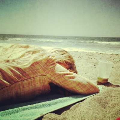 Ej snoozing on the beach. (at Venice Beach)